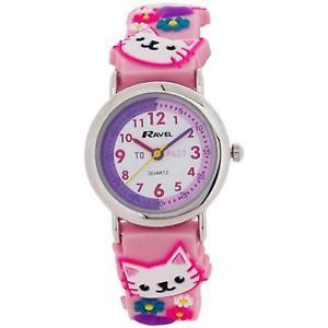 【送料無料】腕時計 ウォッチラヴェルネコピンクラバーストラップウォッチravel time teacher girls 3d kitten pink rubber strap watch r151371