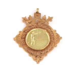 【送料無料】腕時計 ウォッチアンティークソリッドローズウォッチチェーンゴールドメダルantique solid 9ct rose gold shooting fob medal for watch chain c 1907