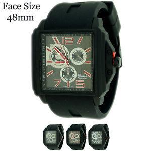 【送料無料】腕時計 ウォッチジュネーブプラチナスクエアクロノシリコンファッションウォッチgeneva platinum square chrono silicone fashion watch 48mm