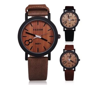 【送料無料】腕時計 ウォッチシミュレーションカジュアルレザーストラップウオッチメーカーsimulation relojes quartz men watches casual wooden leather strap wristwatch