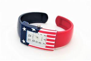 【送料無料】腕時計 ウォッチジュネーブアメリカエナメルカフウォッチgreat geneva red white blue american enamel cuff watch works