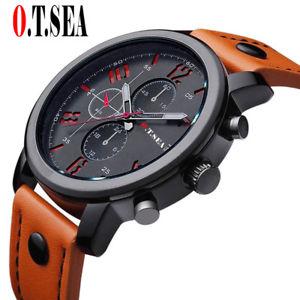 【送料無料】腕時計 ウォッチシーレザースポーツクオーツアナログluxury otsea leather watches men military sports quartz analog wristwatches re