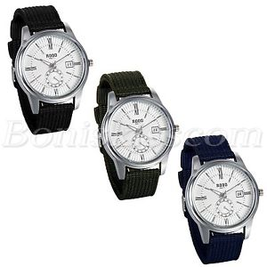 【送料無料】腕時計 ウォッチメンズビジネスカジュアルドレスナイロンストラップローマウォッチmens business casual roman numberals nylon strap date quartz dress wrist watch