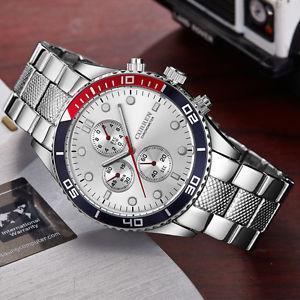 【送料無料】腕時計 ウォッチシルバースクエアorologio polso curren 8028 uomo analogico quarzo moderno silver quadr silver lac