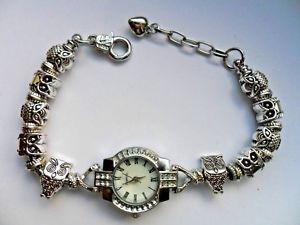 【送料無料】腕時計 ウォッチハンドメイドブレスレットフクロウウォッチ stunning handmade charm bracelet quartz watch with owl charms 195cm