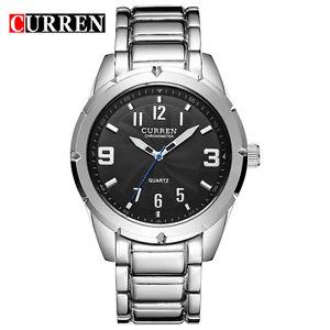 【送料無料】腕時計 ウォッチシルバークワッドorologio polso curren 8037 uomo analogico quarzo moderno silver quad nero lac