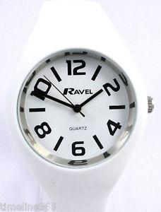 【送料無料】腕時計 ウォッチラヴェルレディースホワイトシリコンウォッチストラップravel ladies modern big number large watch white silicon strap, summer range