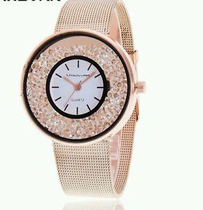 【送料無料】腕時計 ウォッチファッションドレスクリスタルゴールドレディースローズクオーツウォッチluxury fashion dress crystal rosegold watch womens quartz ladies wrist watches