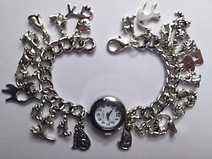 【送料無料】腕時計 ウォッチブレスレットhandmade silver cat charm bracelet watch with 23 charms 20cm long