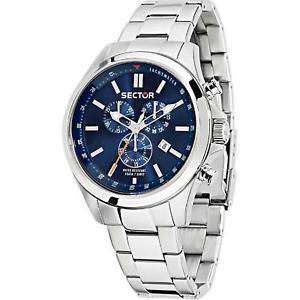【送料無料】腕時計 ウォッチセクターメンズクロノグラフシルバースチールブレスレットケースsector mens 46mm chronograph silver steel bracelet amp; case watch r3273690009