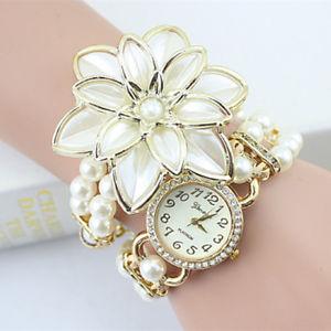 【送料無料】腕時計 ウォッチセールブレスレットファッションパールクォーツ2017 lady luxury white flower bracelet watches women fashion pearl quartz w