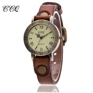 【送料無料】腕時計 ウォッチビンテージカウレザーブレスレットカジュアルクオーツワットccq vintage cow leather bracelet watch women wristwatch casual luxury quartz wat