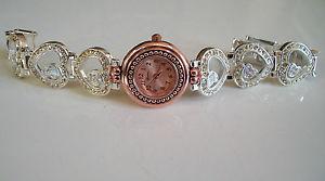 【送料無料】腕時計 ウォッチファッションデザイナーゴールドシルバーフローティングハートブレスレットローズウォッチfashion designer rose goldsilver finish floating stone heart bracelet watch