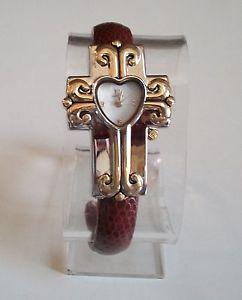 【送料無料】腕時計 ウォッチレディースクロスシェイプブラウンゴールドシルバーカフファッションウォッチladies cross shape religious brown gold amp; silver finish cuff fashion watch