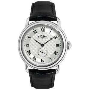 【送料無料】腕時計 ウォッチロータリーブラックレザーストラップメンズウォッチ