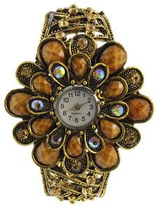 【送料無料】腕時計 ウォッチガラスクリスタルフラワースイングレディースファッションウォッチbrown tone glass gem amp; crystal flower hinged ladies fashion watch