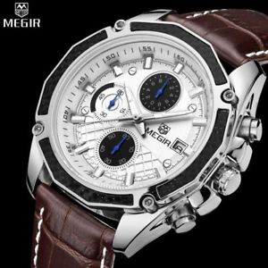 【送料無料】腕時計 ウォッチクォーツメンズウォッチバーメートルガラスmegir luxury quartz mens watch water resistance 3 bar 30m, hardlex glass,