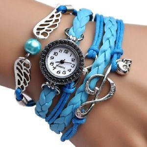 【送料無料】腕時計 ウォッチファッションセームブレスレットウォッチ fashion angel wings music bracelet watch women parcords pu leather shammy