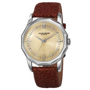 【送料無料】腕時計 ウォッチ#ケースレザークオーツ men039;s akribos xxiv ak825ssbr quartz dodecagon case braided leather watch