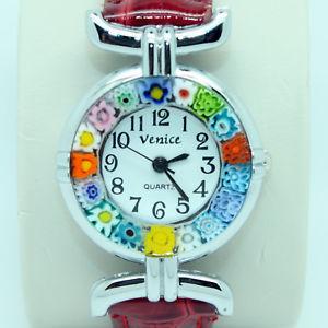 【送料無料】腕時計 ウォッチムラーノヴェネツィアガラスダークレッドストラップウォッチmurano glass quartz watch from venice with millefiori and dark red strap