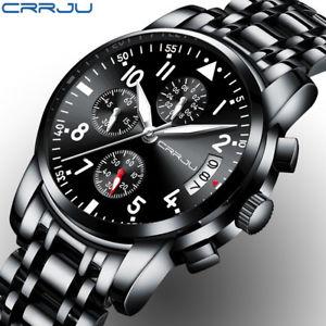 【送料無料】腕時計 ウォッチ#クロノグラフウォッチcrrju quartz luxury look men039;s chronograph watch waterproof date