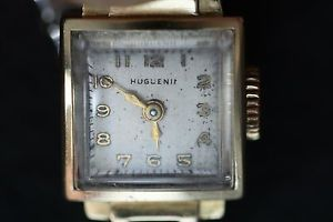 【送料無料】腕時計 ウォッチゴールドブレスレットhuguenin 17 jewel 14 k gold bracelet watch with 10 k bracelet circa 1940s runs