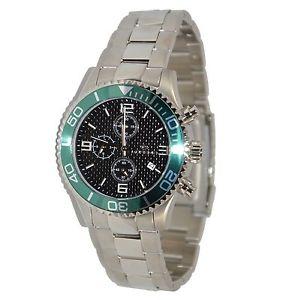 腕時計 ウォッチデータクロノバードlorenz orologio uomo acciaio data chrono verde listino 349 sottocosto