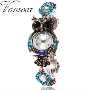 【送料無料】腕時計 ウォッチクリスタルブレスレットファッションフクロウvansvar brand luxury crystal bracelet watches fashion women owl watch beautif