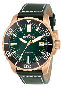 【送料無料】腕時計 ウォッチメンズプロダイバーinvicta mens pro diver automatic 100m tin bronze green leather watch 25644
