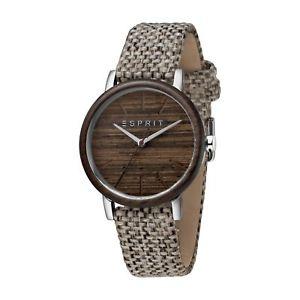 【送料無料】腕時計 ウォッチァートリムストラップneues angebotesprit es1l030l0015 womens wooden trim and woven strap wristwatch