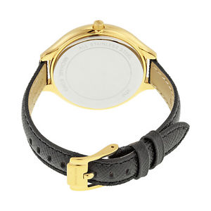 腕時計 ウォッチミハエルスリムロゴゴールドブラックレザードルウォッチ