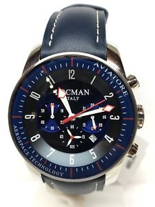 腕時計 ウォッチゲートクロノペレブルシモorologio locman aviatore chrono 44mm acciaiopelle blu 580 scontatissimo