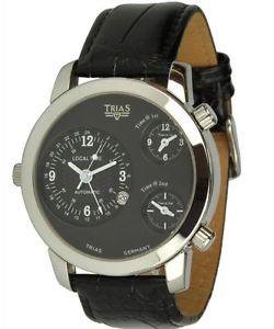 腕時計 ウォッチタイムゾーンモデルコスモポリタンウォッチブラックメンズウォッチtrias uhr modell cosmopolitan mit 3 zeitzonen, schwarze xxl herrenuhr