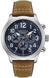 【送料無料】腕時計 ウォッチメンズクロノブラウンレザークロノグラフウォッチmens nautica ncc 01 chrono brown leather chronograph watch nad14531g