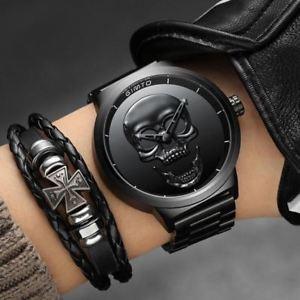 【送料無料】腕時計 ウォッチパンククールスカルブランドウォッチスチールクオーツ2018 cool punk 3d skull men watch brand gimto luxury steel quartz male watches w