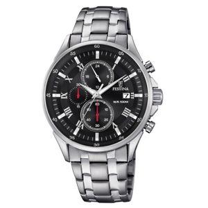 【送料無料】腕時計 ウォッチメンズシルバークロノグラフ¥festina f68534 mens silver chronograph watch rrp 159