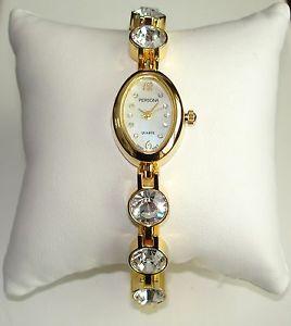 【送料無料】腕時計 ウォッチクリアオーストリアクリスタルゴールドトーンレディースブレスレットウォッチclear~ austrian crystal gold tone ladies bracelet watch