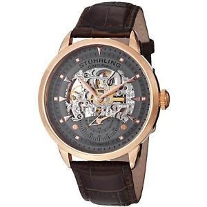 【送料無料】腕時計 ウォッチエグゼクティブメンズブラウンカーフスキンウォッチstuhrling executive mens 44mm automatic brown calfskin watch 1333345k54
