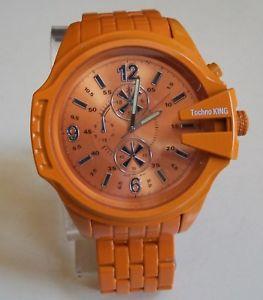 【送料無料】腕時計 ウォッチオレンジファッションドレッシーカジュアルmens painted orange metal finish fashion dressycasual wear wrist watch