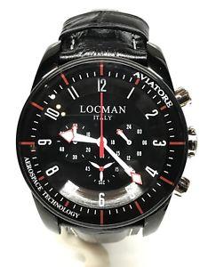 【送料無料】腕時計 ウォッチゲートクロノシモorologio locman aviatore chrono 44mm 580 acciaio nero pelle scontatissimo