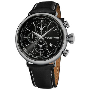 【送料無料】腕時計 ウォッチワールドタイムアラームストラップウォッチ mens akribos xxiv ak629bk worldtime alarm genuine leather strap watch
