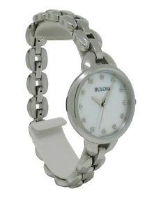 【送料無料】腕時計 ウォッチラウンドパールクリアアナログbulova 96l204 womens round analog mother of pearl clear crystal watch