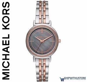【送料無料】腕時計 ウォッチミハエルパールツートンストラップレディースmichael kors mk3642 cinthia mother of pearl two tone strap ladies wrist watch