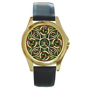 【送料無料】腕時計 ウォッチグリーンセルティックノットゴールドトーンレザーウォッチmystic green amp; red celtic knot goldtone leather watch