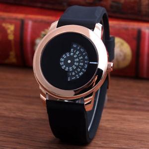 【送料無料】腕時計 ウォッチブラックラバーストラップターンテーブルクリエイティブデザイン