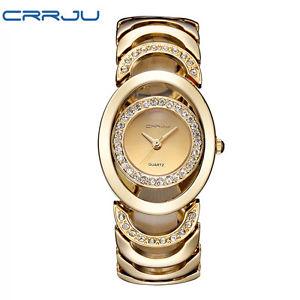 【送料無料】腕時計 ウォッチスチールブレスレットmluxury crrju quartz watch women gold steel bracelet watch 30m waterproof rhinest