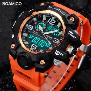 【送料無料】腕時計 ウォッチスポーツデュアルデジタルオレンジクオーツmen sport watches dual display digital led orange watch quartz watch boamigo