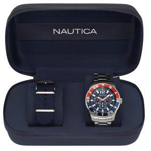 【送料無料】腕時計 ウォッチホワイトカップボックスリファレンスorologio uomo nautica white cup box set ref napwhc002