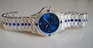 【送料無料】腕時計 ウォッチメンズヒップホップクラブシルバーブレスレットmens hip hop cz bling clubbing silver finish bracelet blue stone rapper watch
