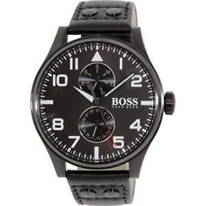 【送料無料】腕時計 ウォッチヒューゴボスメンズミリブラックカーフスキンミネラルガラスクォーツ